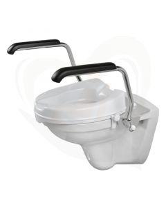 Luxe toiletbeugelset met 5 cm losse verhoger en armleggers 30 cm RVS gepolijst