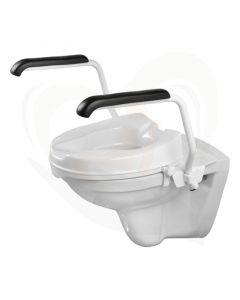Luxe toiletbeugelset met 5 cm losse verhoger en armleggers 30 cm RVS wit