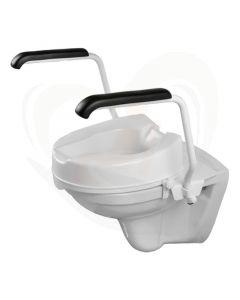 Luxe toiletbeugelset met 10 cm losse verhoger en armleggers 35 cm staal wit