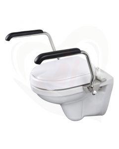 Luxe toiletbeugelset met 6 cm vaste verhoger en armleggers 30 cm RVS gepolijst