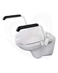 Luxe toiletbeugelset met 6 cm vaste verhoger en armleggers 30 cm RVS wit