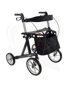 Rollator Mobilex Lion outdoor met grote wielen antraciet met grote tas