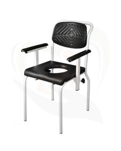 Douche-/toiletstoel met O-uitsparing RVS wit