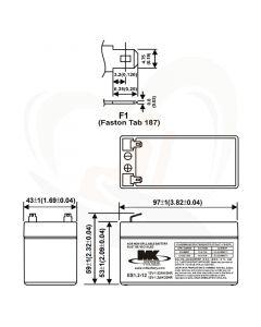 MK Battery AGM accu ES1.2-12 12Volt 1.2Ah technische gegevens