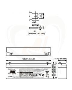 MK Battery AGM accu ES1.9-12 12Volt 2.3Ah techische gegevens