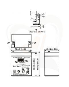 MK Battery AGM accu ES2.9-12 12Volt 2.9Ah technische gegevens