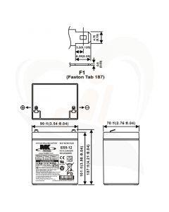 MK Battery AGM accu ES5-12 12Volt 5Ah technische gegevens