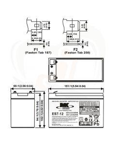 MK Battery AGM accu ES7-12 12Volt 7Ah technische gegevens