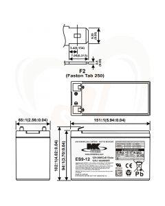 MK Battery AGM accu ES9-12 12Volt 9Ah technische gegevens