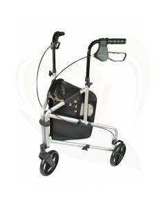 Lichtgewicht rollator 3 wiel met tas voorzijde - zilvergrijs