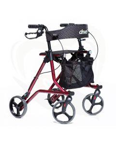 Rollator Drive Torro budget lichtgewicht rollator met rugsteun rood