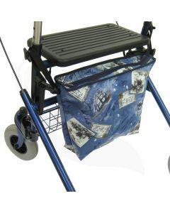 Rollator hangtas Róx blauw gemonteerd op rollator