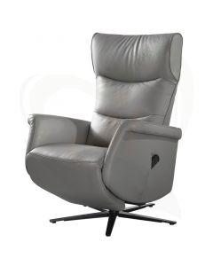 Sta-op stoel en relaxfauteuil Milaan met draaipoot - voorzijde grijs
