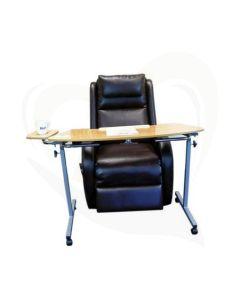 Tafel voor over sta-op stoel in hoogte verstelbaar met klein blad voor drinkbeker.