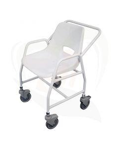 Deze mobiele douchestoel is de perfecte oplossing voor verzorgers om patiënten of familieleden te vervoeren in en uit de douche.