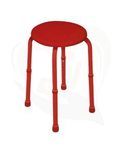 Degelijke douchekruk in de kleur rood die veelzijdig kan worden ingezet.