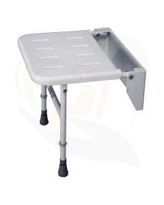 Douchezitting Solo muur montage met steunpoten is een veilige en betaalbare oplossing om u zelfstandig zittend te kunnen douchen.
