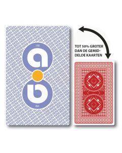 Extra grote speelkaarten die maar liefst 50% groter zijn dan de gemiddelde speelkaarten.