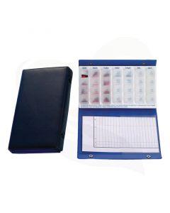 Pillendoos inclusief een handige organiser om in bij te houden wanneer en hoeveel medicijnen u heeft gehad.