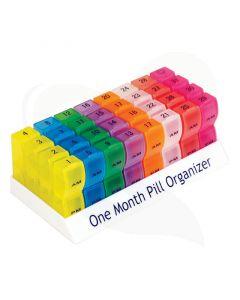 Deze kleurrijke pillendoos is ideaal voor het sorteren van tabletten voor één maand van tevoren.