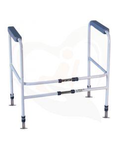 Het toilet Frame vaste montage is verstelbaar in hoogte en breedte en een ideaal hulpmiddel om eenvoudig steunen te krijgen bij uw toilet.
